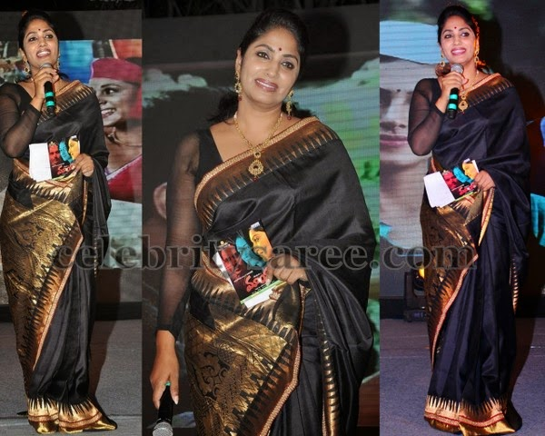 Anchor Jhansi Crepe Sari in Black