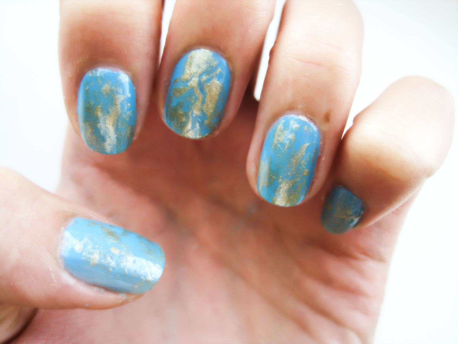The Treasure Chest Monday Blues Gold Leaf Nail Art