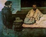 Cuadro de Paul Cézanne (1869-1870): Paul Alexis leyendo un manuscrito a Émile Zola