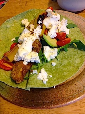 Fried Avocado Tacos with Roasted Red Peppers by Future Relics Pottery