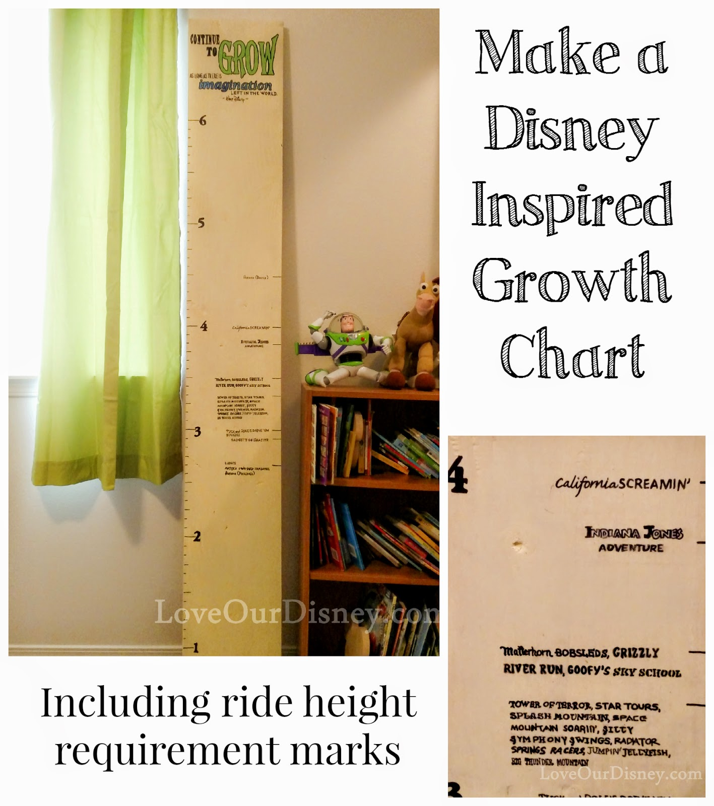 Disney growth chart with ride height requirements marked on it from LoveOurDisney.com