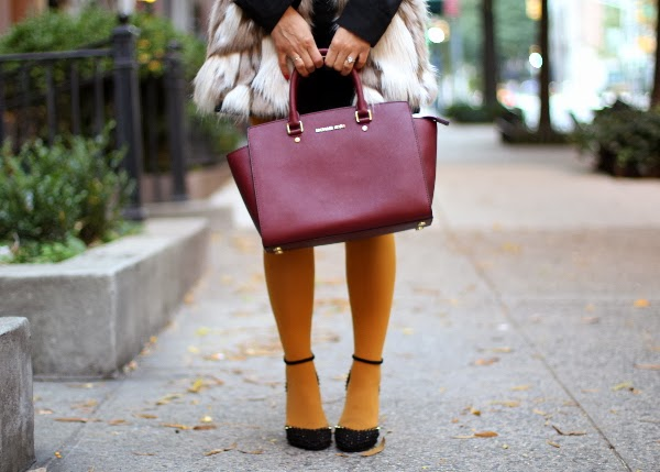 faux fur vest, color tights, tights, fur, zara, michael kors, black shortls, street style, mustard shorts, zara coats, NYC bogger, target, express, michael kors Selma