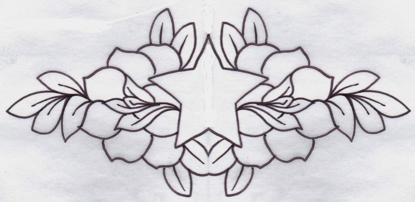 Roses and star tattoo stencil