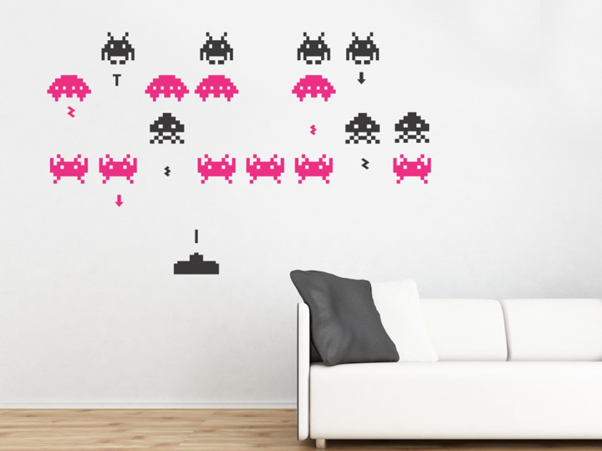 Zoe drew wall decals for bigger kids - Space invader wall stickers ...