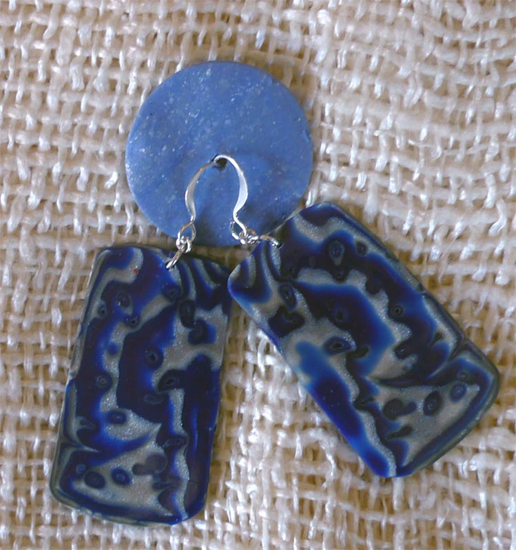 Mokume Gane Earrings: Paintings And Polymer By Patricia (pati) Bannister: Blue