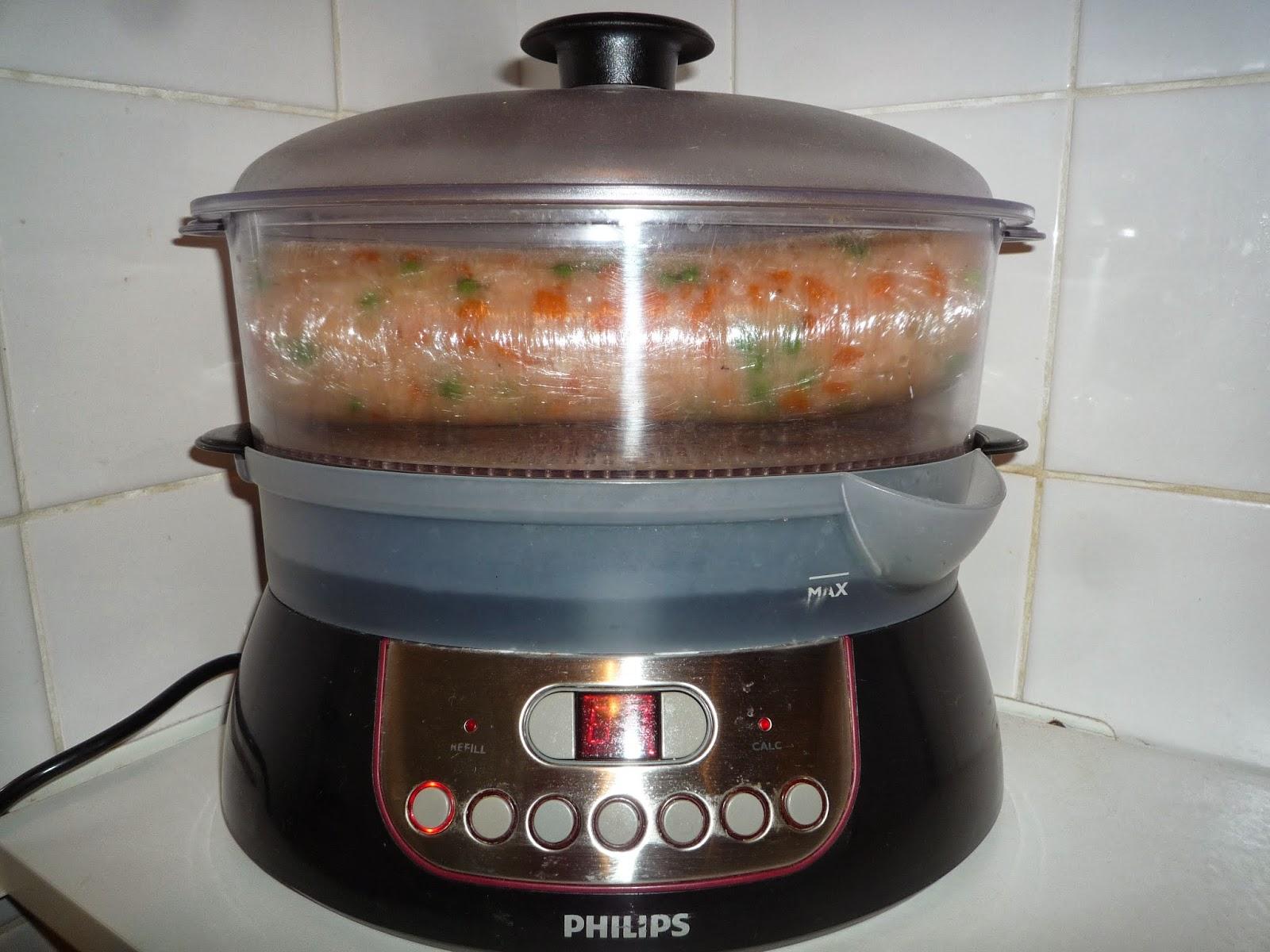 salchichon de pollo en vaporera