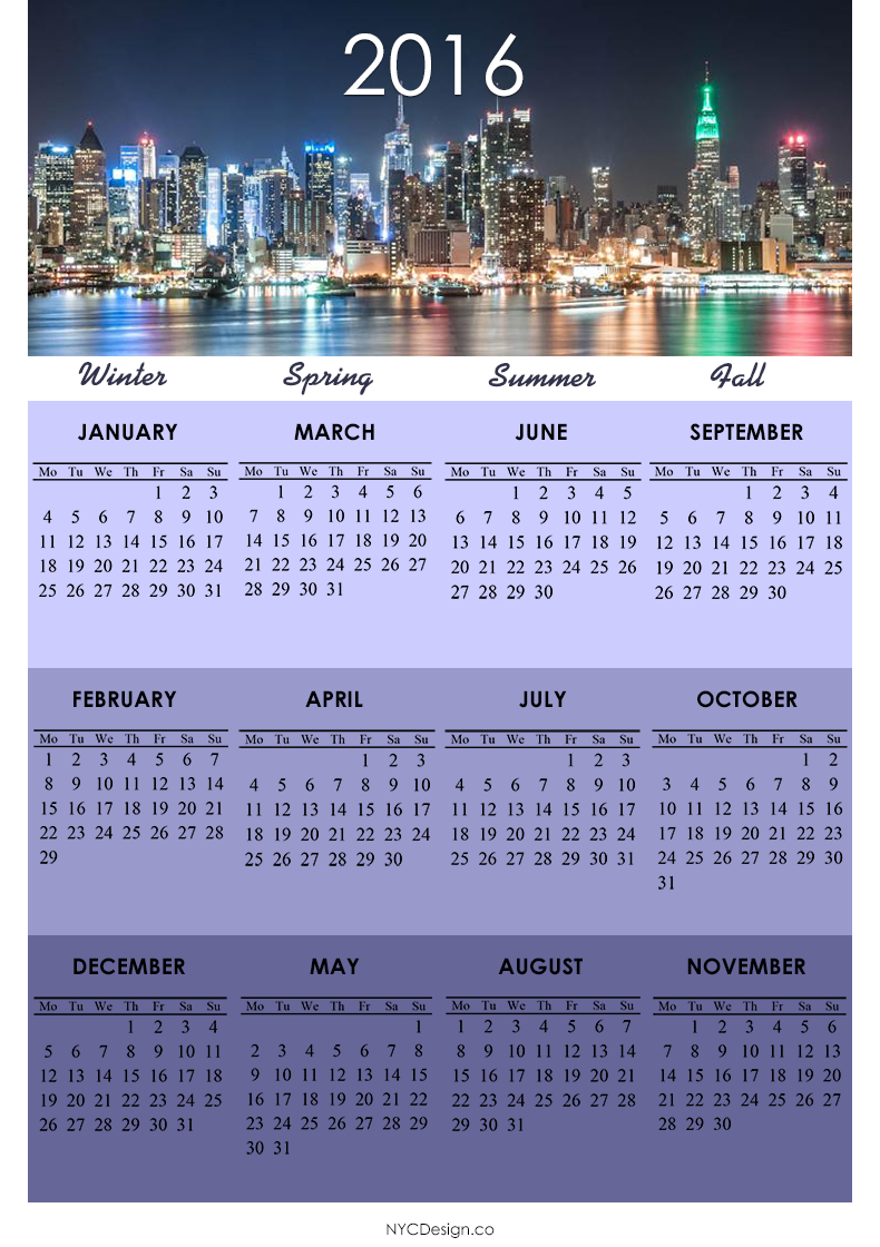 Free 2016 Printable Calendar One Page Pictures