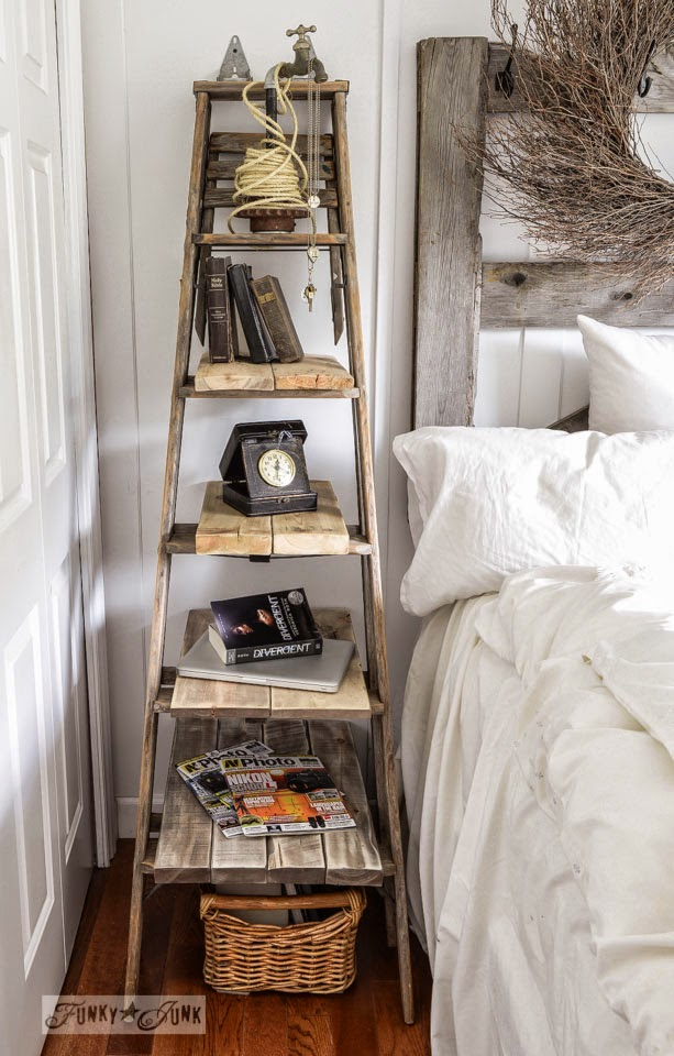 Chipping with Charm: Ladder Love, Funky Junk Interiors on Hometalk...http://www.chippingwithcharm.blogspot.com/