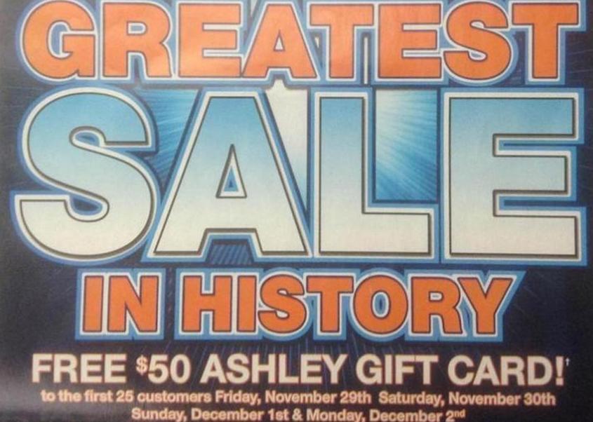 Black Friday Freebies 2013 Free Ashley Furniture 50 Gift Card