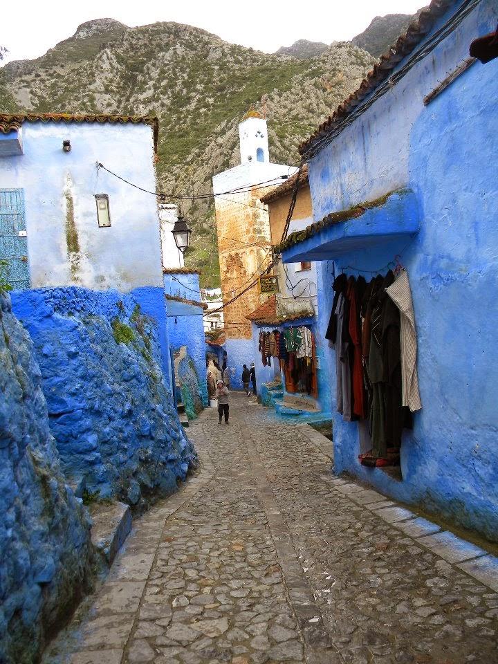 marruecos pequeño pueblo pintado de azul