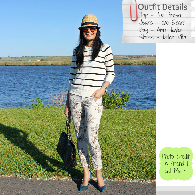 Summer Outfit Ideas, How To Wear Floral Pants, Floral Pants, How To Style A Fedora, Joe Fresh Striped Sweater