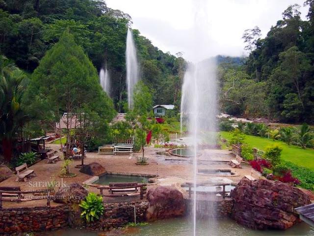 Overlooking the spa pools of Merarap Hotspring Lodge Lawas Sarawak Malaysia Borneo