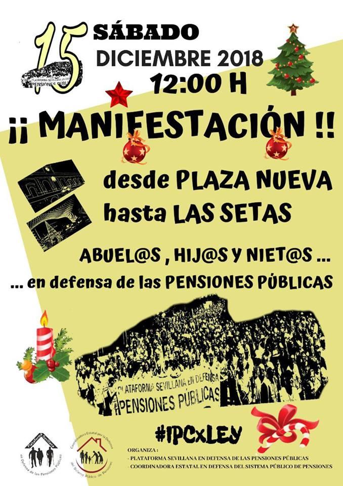 Sábado 15D MANIFESTACIÓN EN DEFENSA DE LAS PENSIONES PÜBLICAS.