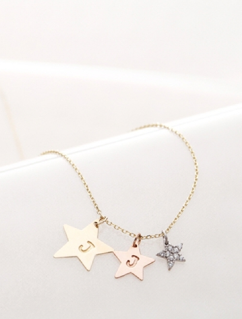 Sparkling Three-Colored Star Necklace