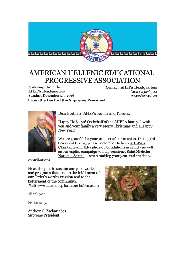 AHEPA-AMERICAN HELLENIC EDUCATIONAL  PROGRESSIVE ASSOCIATION best wishes
