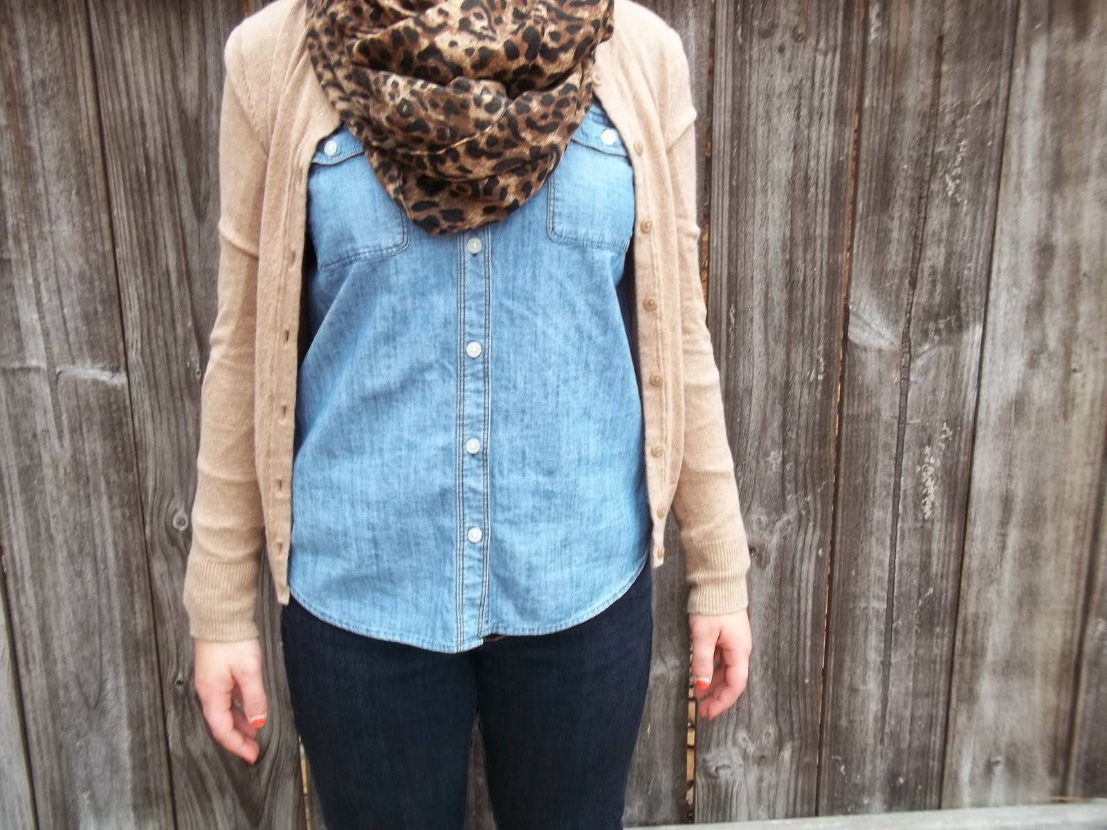 Leopard scarf, chambray shirt, jeans, tan cardigan, brown boots.