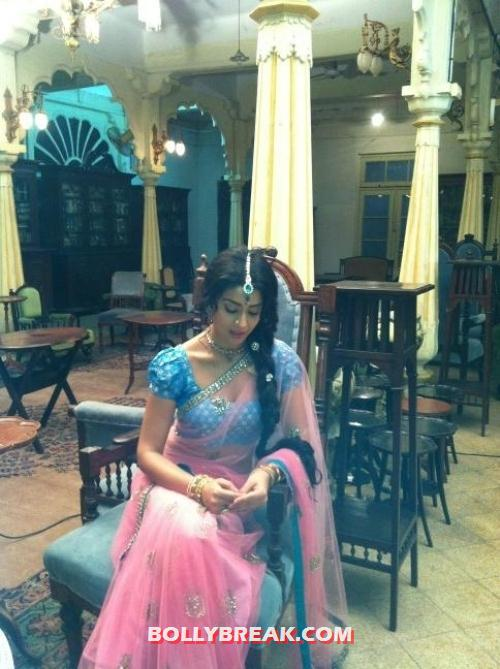 Shriya saran in pink saree- blue blouse - Shriya saran in saree - Real Life Photo