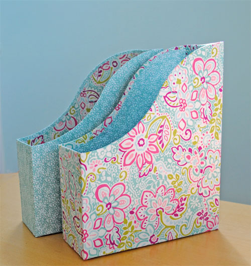 fabric covered ikea magazine files - Decorative File Boxes