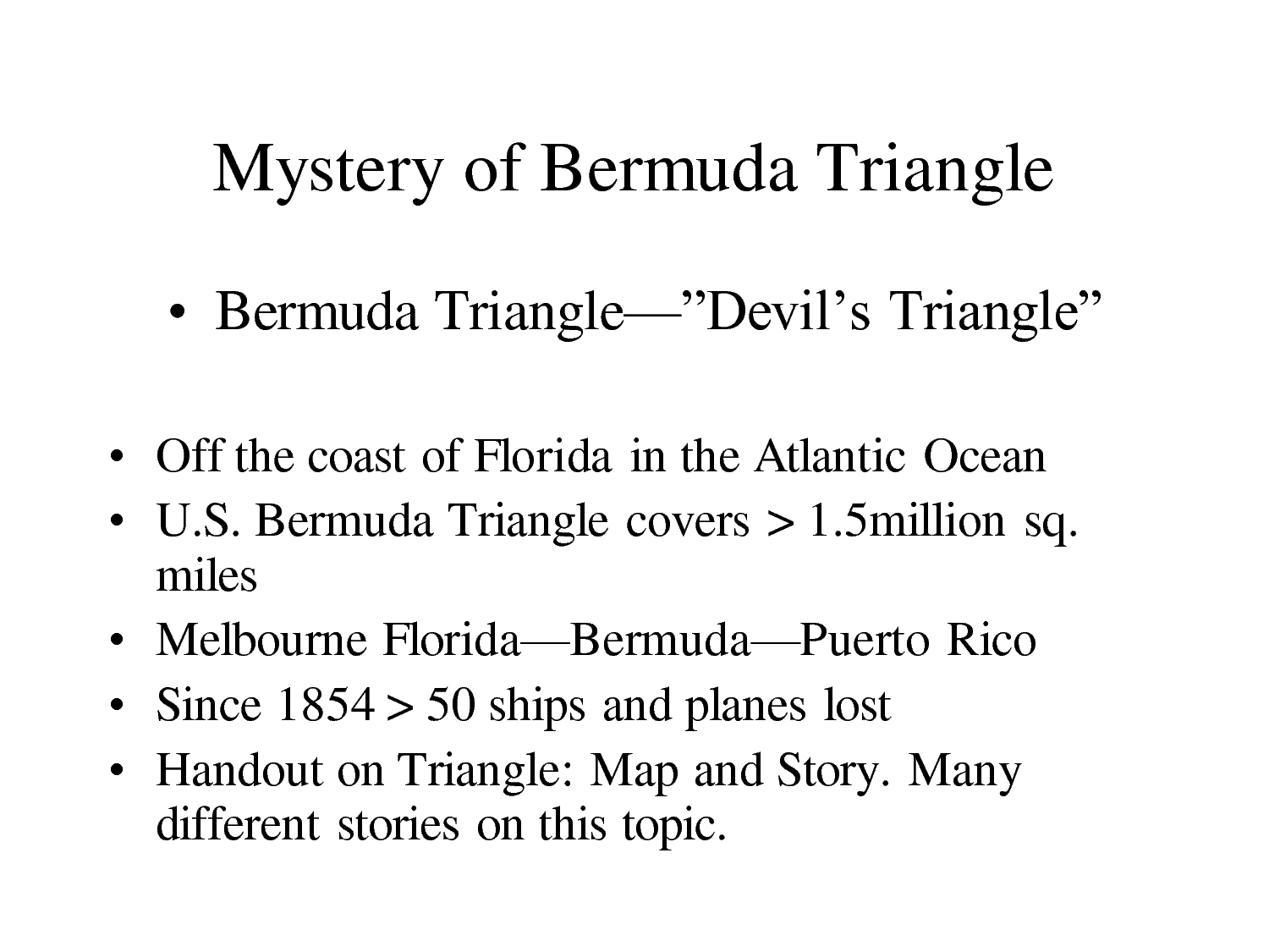 bermuda triangle research questions