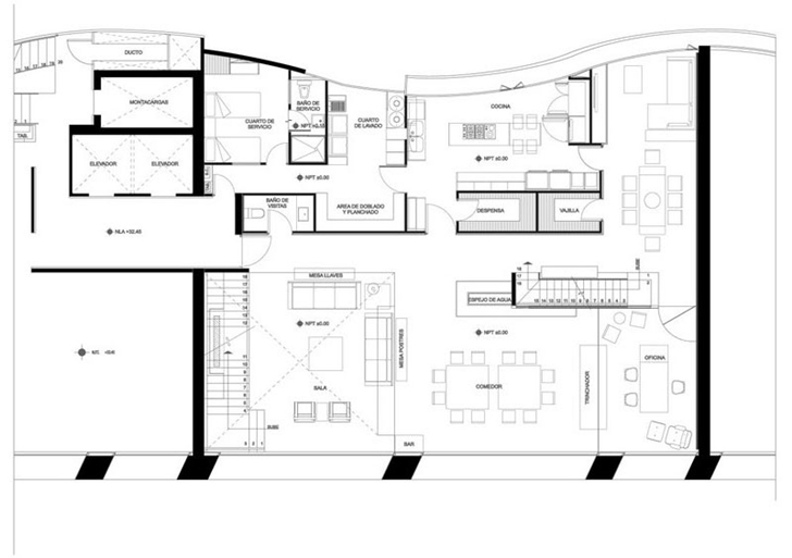 Lower floor plan in Modern apartment by Craft Arquitectos