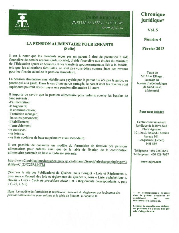 Club ge d 39 or le ste th r se et talon cronique juridique la pension alimentaire pour enfants - Grille pension alimentaire 2013 ...