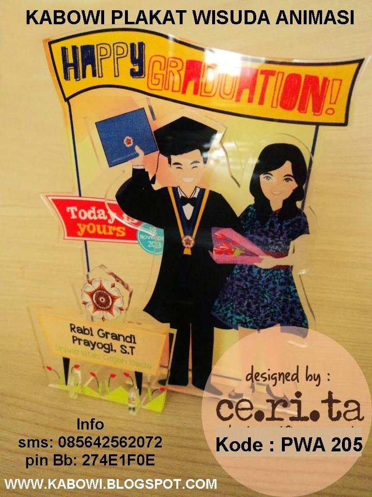 Plakat wisuda animasi kabowi boneka wisuda kado hadiah graduation untuk pacar buat pria wanita unik lucu jual gambar