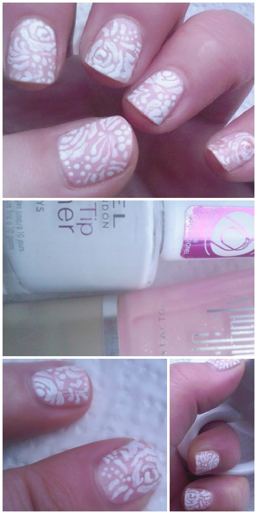 Nailart in white on a pink base coat