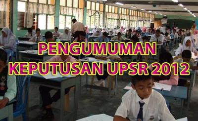 Keputusan Peperiksaan Ujian Pencapaian Sekolah Rendah (UPSR) TAHUN 2012