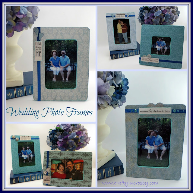 scrapbook paper, photo frames, bare wood frames