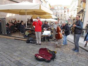 "Street musicians on ""Charles Bridge"" of Prague."