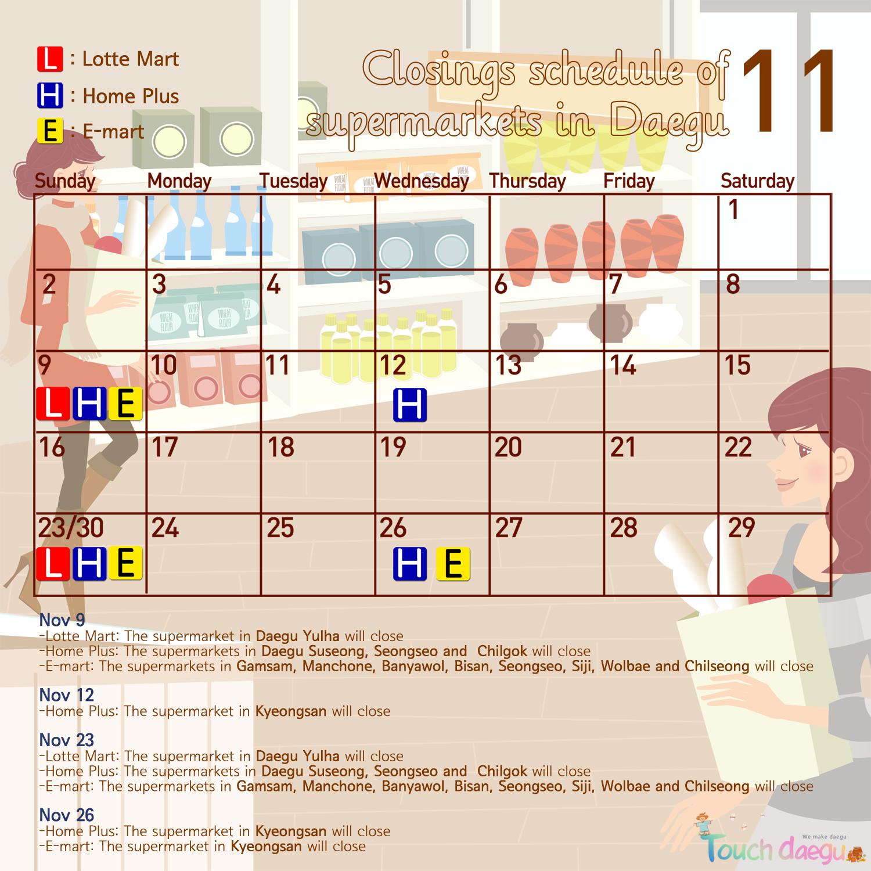 Closing Days of Supermarkets in Daegu in November