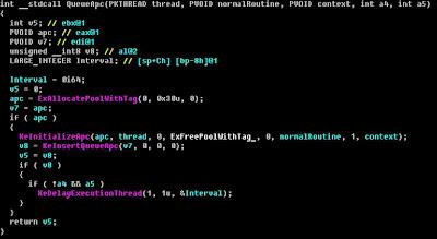 QueueAPC()関数のコード:ESETセキュリティブログ