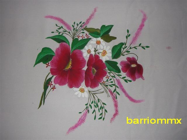 Flores pintadas en tela manualidades - Imagui