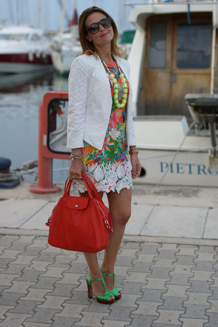 Longchamp Le cuir bag in paprika, mini dress with tropical print, Gaia d'Este green heels, Fashion and Cookies