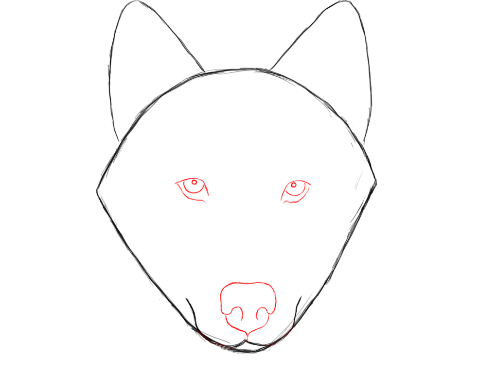 "Also, Draw In Where The Wolf's Mouth Will Be By Making A €�w"" Shape Near The  Bottom Point Of The Triangle"