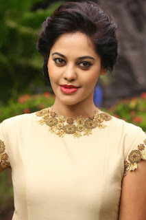 Bindu Madhavi in Cute Cream Colored Dress Beautiful Red Lipstick and Kajal Spicy Pics