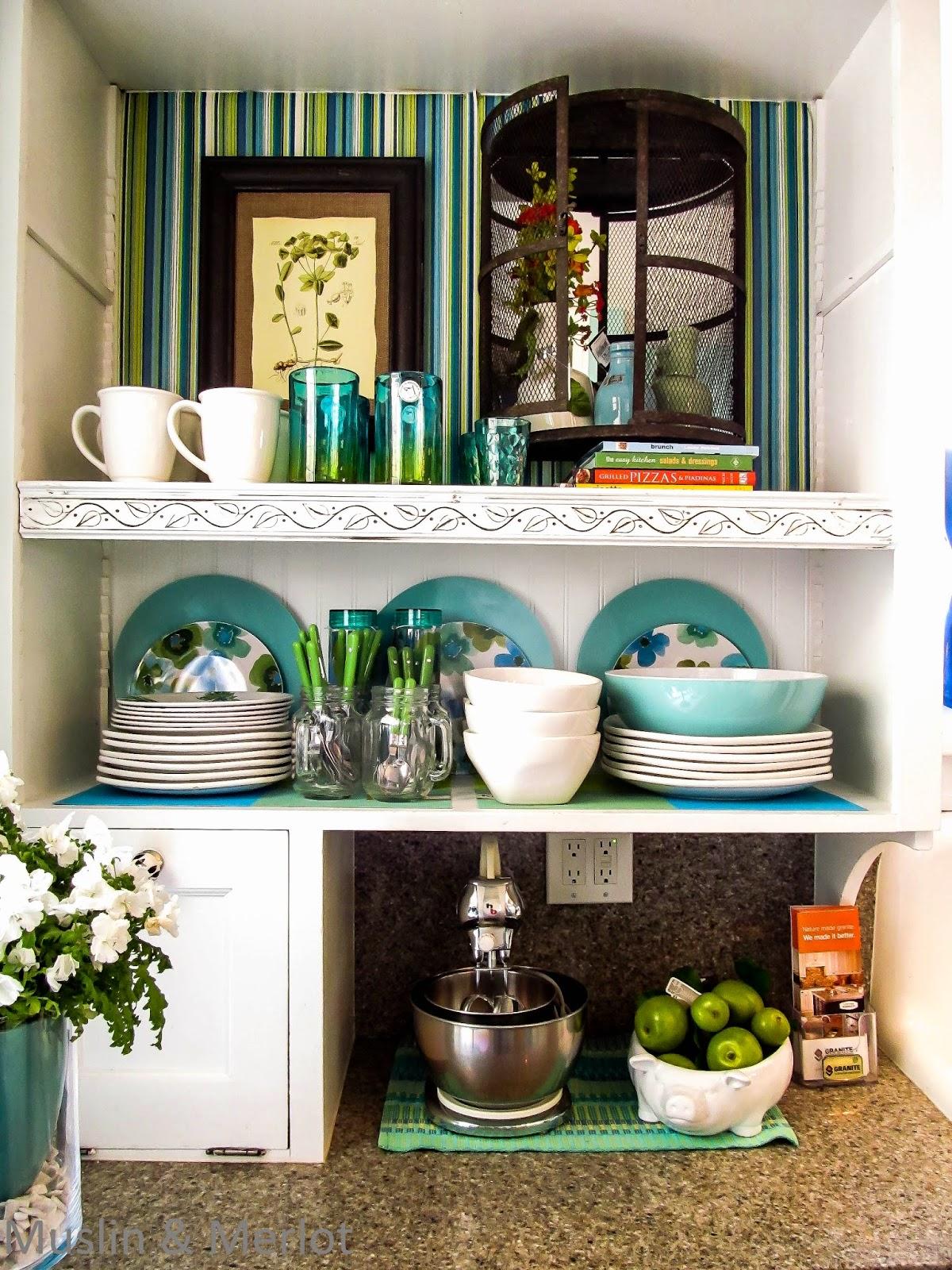 Very pretty open cupboards.