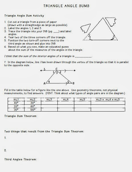 Math By Tori Triangles Unit Interior Angle Sum And Exterior Angle Remote Interior Angles