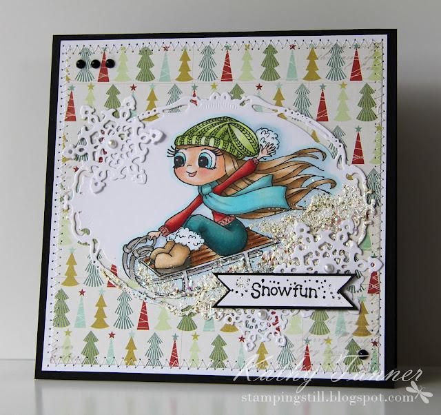 Sledging, Time 4 Tea, Whimsy, snow, christmas, sled, copics