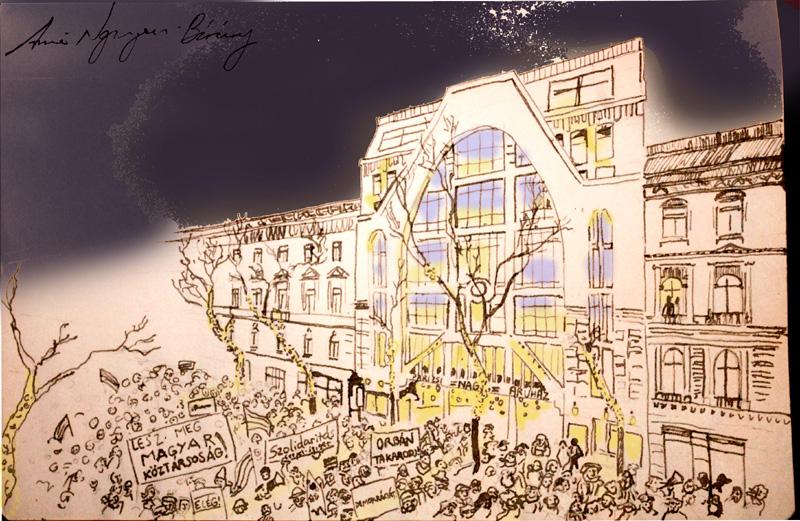 Parizsi Nagy Aruhaz, Protests before Párizsi Nagy Áruház, Paris Department Store, ink drawing