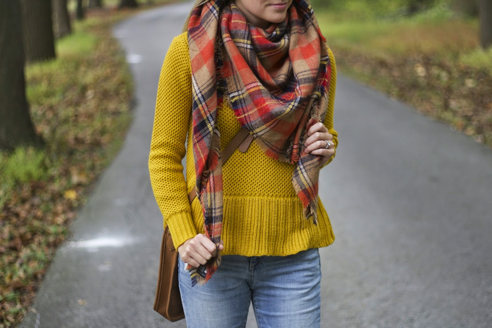 zara plaid blanket scarf, peplum sweater, how to wear a scarf?, gigi new york cross body bag