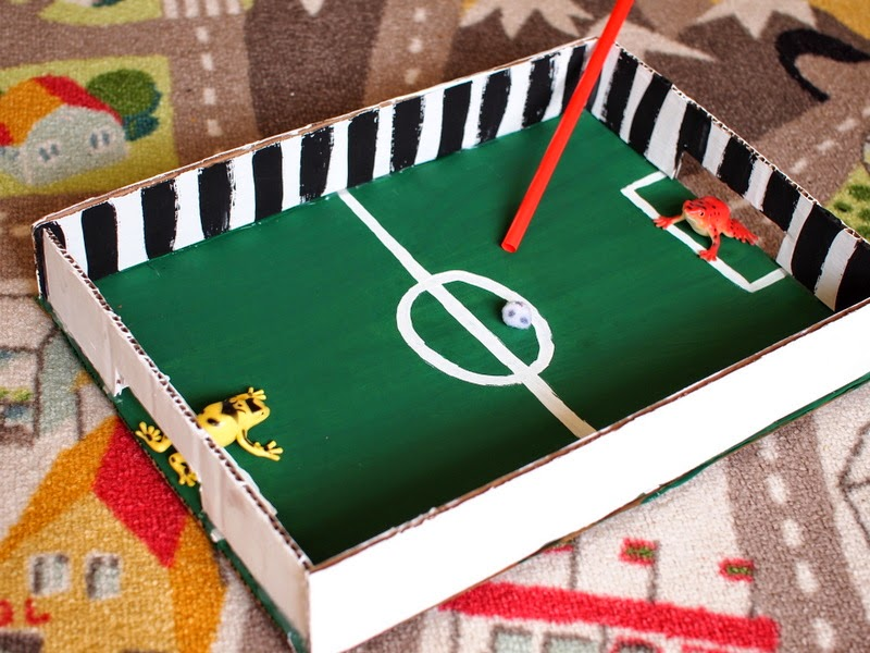 how to make a cardboard and pom pom soccer game