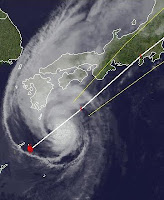 Taifun JELAWAT erreicht Zentral-Japan, Jelawat, Lawin, Taifunsaison 2012, Taifun Typhoon, September, 2012, aktuell, Japan, Satellitenbild Satellitenbilder, Vorhersage Forecast Prognose,