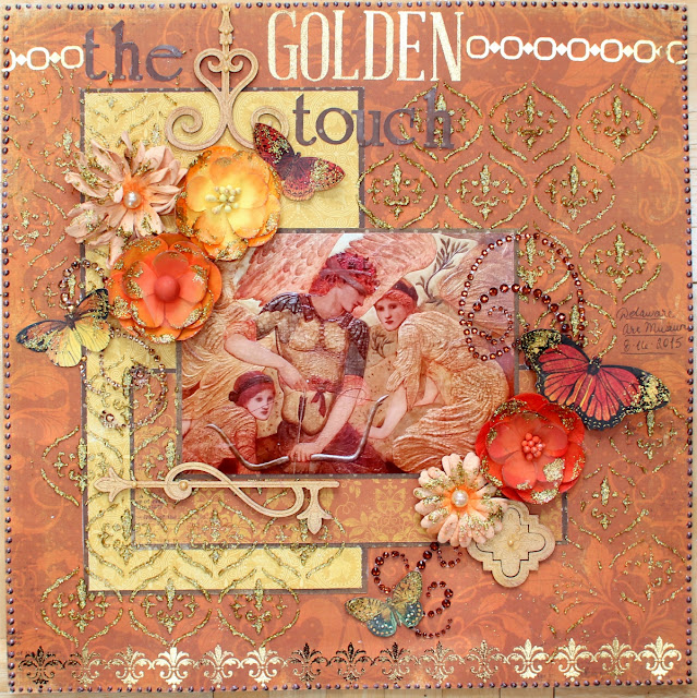 The Golden Touch layout by Ilene Tell using BoBunny Enchanted harvest collection