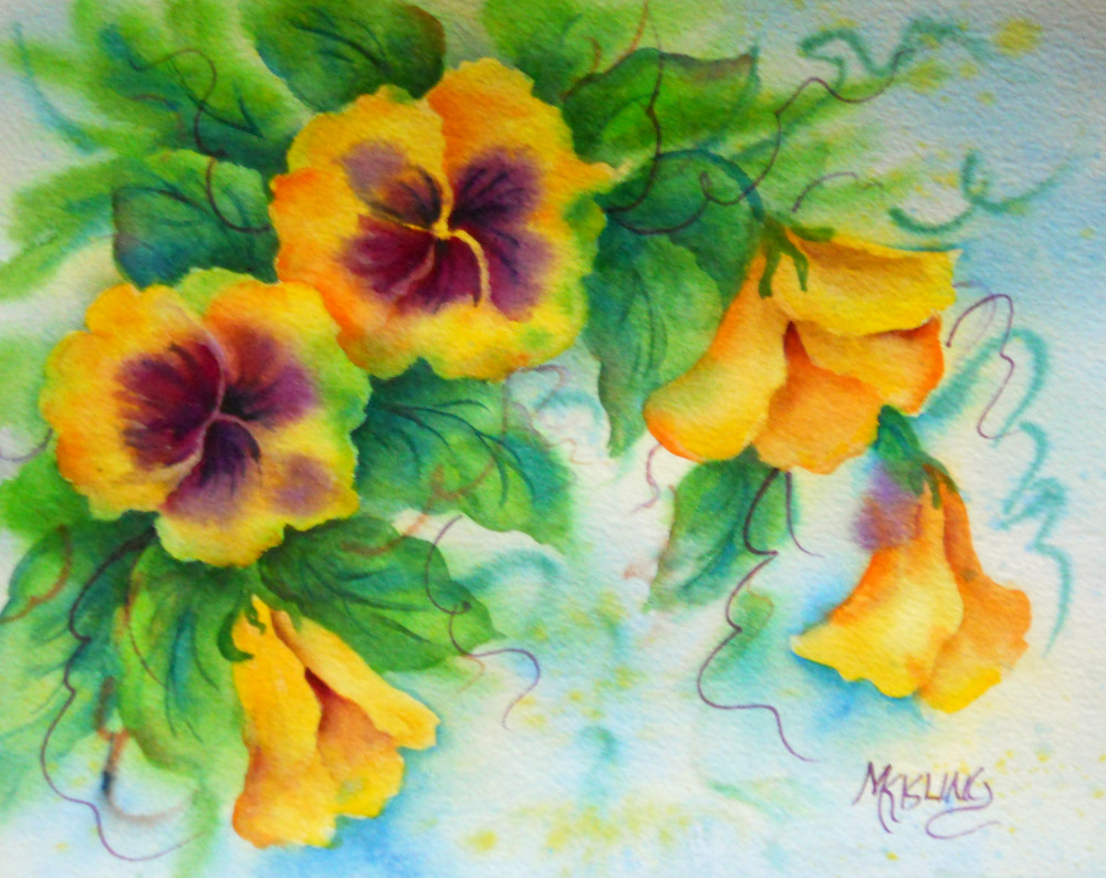 Fine watercolor art for sale - Yellow Pansies On A Cold Winter Day