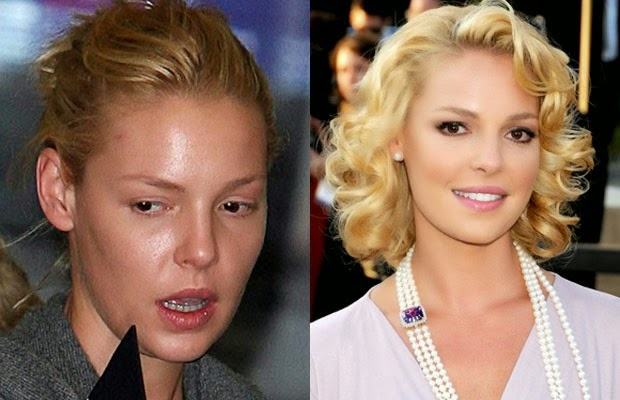 shocking celebrities without makeup photoshop - katherine heigl - كاثرين هيجل