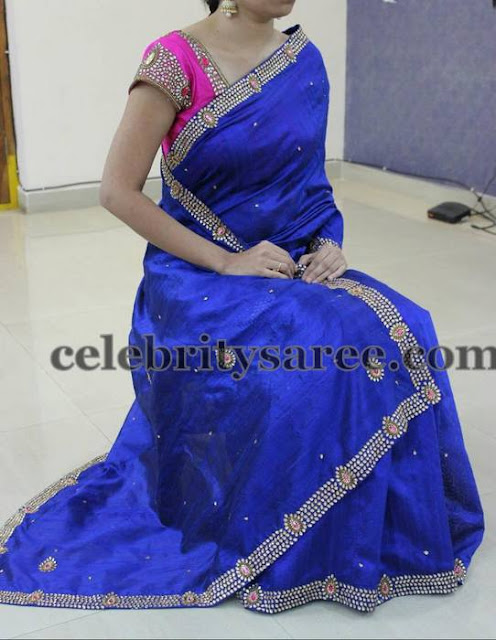 Royal Blue Sequins Saree