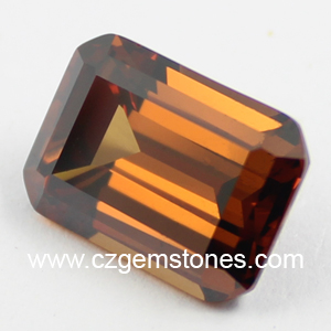 brown emerald cut cubic zirconia