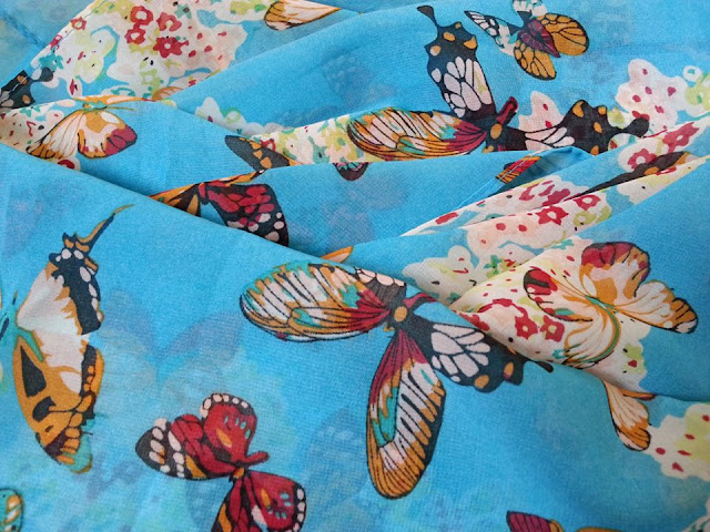 shawl chiffon printed butterfly turquoise