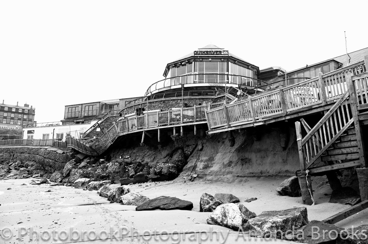 Storm damage on Fistral Beach